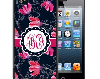Monogrammed Rubber Case For iPhone X, 8, 8 plus, 7, 7 plus, 6s, 6s plus, 5, 5s, 5c, SE - Navy Hot Pink Flowers