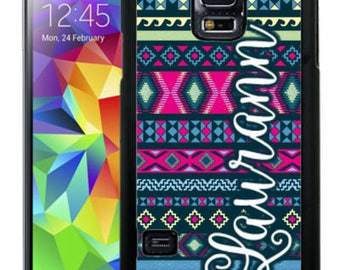 Personalize Rubber Case For Samsung Note 3, Note 4, Note 5, or Note 8- Hot Pink Navy Aztec