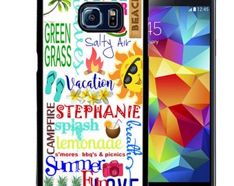 Personalized Rubber Case For Samsung S5, S6, S6 edge, S6 Edge Plus, S7, S7 Edge,  8, 8 plus -  Summer Typography