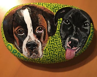"Custom painted Rock Pet, ""Orson and Winston"""