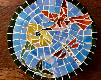 personalized gift|Hummingbird & Dragonfly|mosaic|trivet|shower gift|custom|home decor|gift|