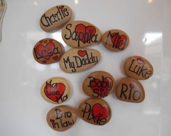 Personalized rock fridge magnets