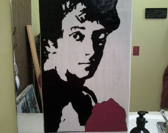 Rocky Balboa Hand-Painted Wood Sign Silhouette