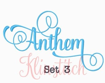 50% Sale!! Set 3 Anthem Embroidery Fonts 5 Sizes Fonts BX Fonts Embroidery Designs PES Fonts Alphabets - Instant Download