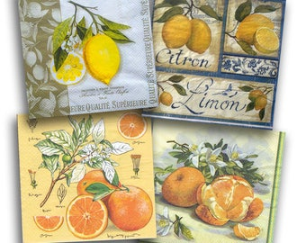 4 Decoupage Napkins Serviette, Citrus, 33x33 cm, 13Inch, Used for Collage, Scrapbooking, Mixed Media, Decoupage