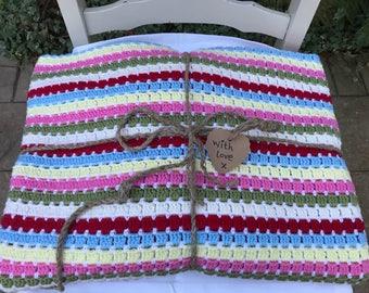 Vintage Style Hand Crocheted Throw/Afghan Blanket