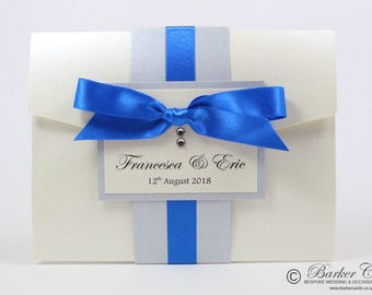 Luxury Pocketfold Wedding Invitation - Royal Blue