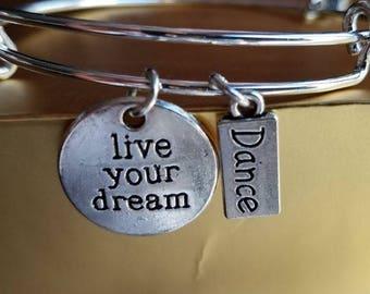 """Charm Bracelet """"Live Your Dream"""", Dance bracelet, Inspirational charm bracelet, Dance charm bracelet, sports charm bracelet, bangle bracelet"""
