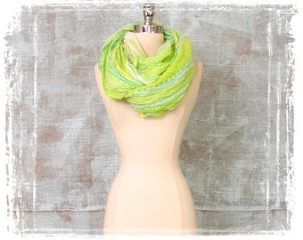 Womens Scarf, Infinity Scarf, Spring, Green, Lime, Tribal Print