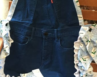 Dark Blue Colored Jeans with Snowman ruffle