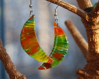 Citrus Earings fused glass, Fusing earings, Stylish earings, Glass jewelry, Lime, Hand made jewelry, Ear Wire, Gift for woman.