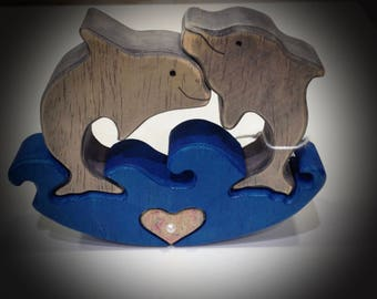 Dolphins made wooden fretwork