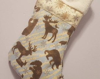 Forest animal/ forest/ hunter/ christmas/ winter/ bear/ reindeer/ elk/ fox/ wolf/ bird/ snowy/ stockings/ outdoor