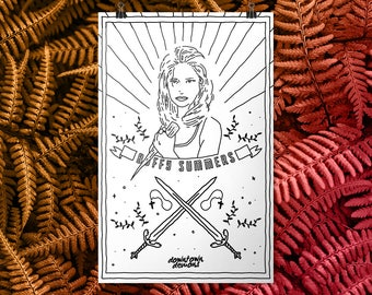 Buffy Summers Printable Coloring Poster -- vampire slayer, joss whedon, 90s