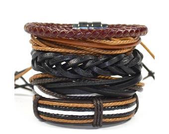 5 Pack Brown Stocked Bracelet Set