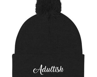 Adultish Pom Pom Knit Cap