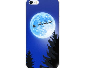 Flying Santa and Reindeer in a sleigh over the moon Christmas Clear Case for iPhone X, 8/8 Plus, 7/7 Plus, 6/6s, 6 Plus/6s Plus, 5/5s/SE