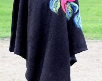 Black wool poncho felted Merino Wool Women Poncho Sweater Wool Poncho Cape Wrap Poncho Wrap Knit  Poncho Sweater womens wrap, hippie poncho