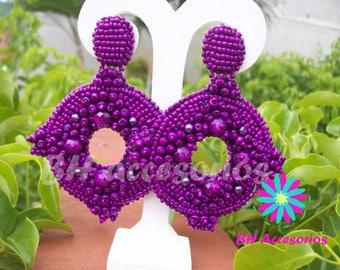 Earrings Embroidery Purple