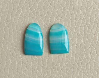 Natural Botswana Agate Beautiful Matching Pair Gemstone, 17 Carat Designer Cabochon Gemstone, Beautiful Jewelry Pair Earring Gemstones.