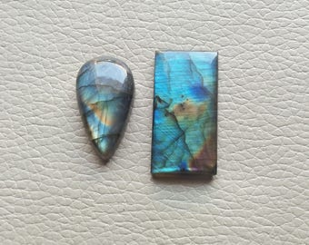 Rainbow Labradorite, Natural Labradorite 02 Pieces Gemstones 70 Carat Weight, Size - 37x20x7, 23x18x8 MM Approx. Labradorite Pendant Stone