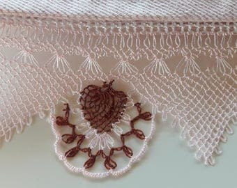 Turkish lace towel, oya needlework, victorian style towel, mothers day gift, cottage chic, bathroom decor,cotton rowel, embroidery towel