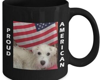 Patriotic Coffee or Tea Mug for dog lovers.