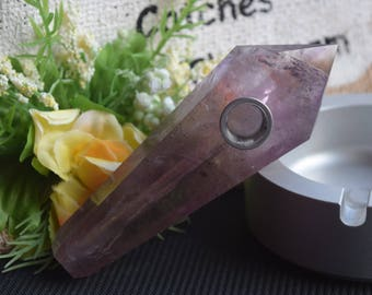 Super amethyst pipe, crystal pipe, quartz pipe ,gemstone pipe, raw stone pipe, tobacco pipe, collectible!