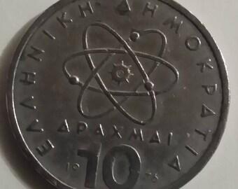 Coin 10 drachmas 1976 Greece