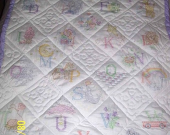 Quilted, Cross Stitched Baby blanket