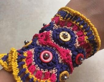 Crochet Cuff Bracelet Boho colorful