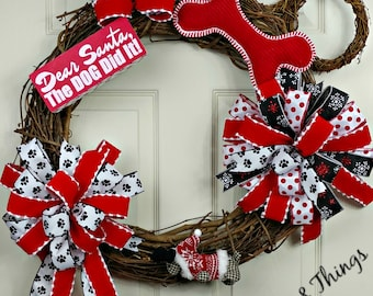 Pet-lover wreath, Dog Wreath, Doggie Door Decor, Pet Wreath, Dog Holiday Decor, Holiday Dog Wreath, Santa Dog Wreath, Dog Door Decor, Paw