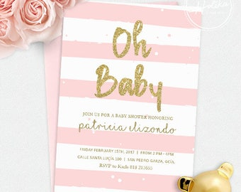 Baby Shower Invitation / Digital File / Party Invitation / Pink and Gold Invitation / Glitter Invitation