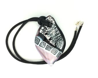 Lilac Leaf Millefiori Lampwork Murano Glass Pendant with Cord