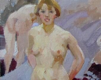 Female Nude  Nude Woman Erotic art Gift for man painting Original Oil on cardboard by Pidvarchan Victoriya