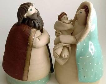 Ceramic Nativity set Joseph and Mary