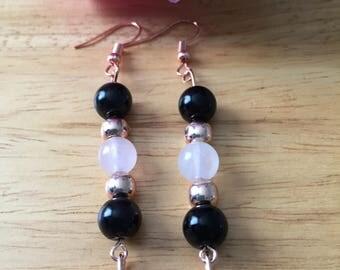 Rose quartz and black glass bead earrings