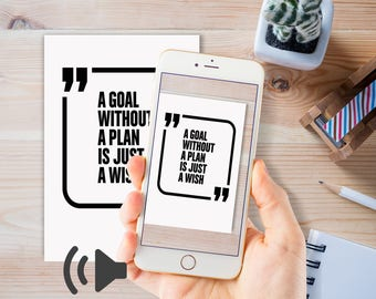 Talking Quotes, use an app to hear and see the quote come to life and talk to you. Male voice| instant download