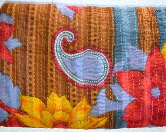 Kantha Vintage Quilt Handmade Reversible Cotton Indian Blanket Throw Bedding G-03