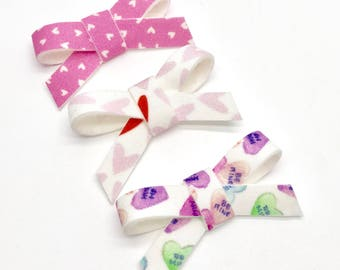 set of 3 artisan small wrap bows love hairbow, headband, hair clips
