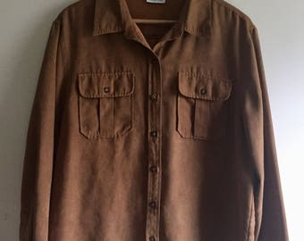 Suede Button Up Shirt
