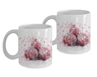 Set of 2 Christmas Mugs, Watercolor Design, Designer Christmas Mugs