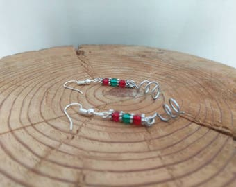Red and Green, Christmas Inspired Dangle Earrings with Spiral