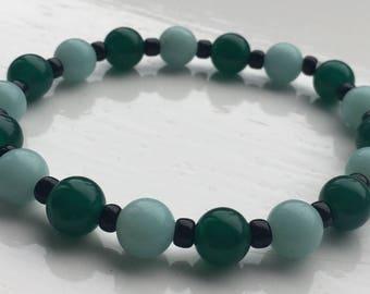 Green Onyx and Amazonite stretch bracelet