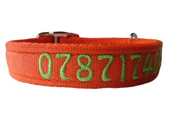 """Personalised Dog Collar with Name or Number 1"""" Wide"""