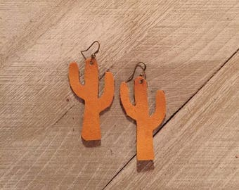 Suede Leather Cactus Earrings