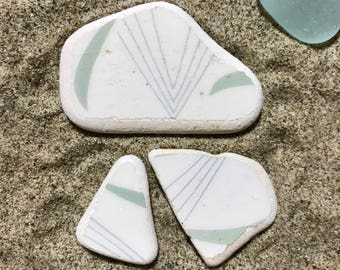 Graphic Sea Pottery Shards * Genuine Beach Pottery * Sea Pottery 3 Pieces * Patterned Ceramics * Ocean Colors * Italian Pottery