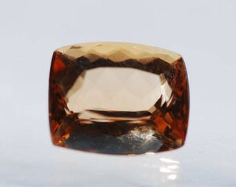 Imperial Topaz, Faceted cabochon, Rectangular, 10 x 8.5 mm, Natural Peach toned Golden Amber color, 5 ct. F1517