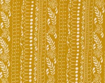 100% Cotton Fabric, Sweet Daisy Lane in Gold - Daisy Paisley by Michael Miller