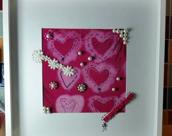 Mixed media artwork, box frame, pink, pearls, customise,